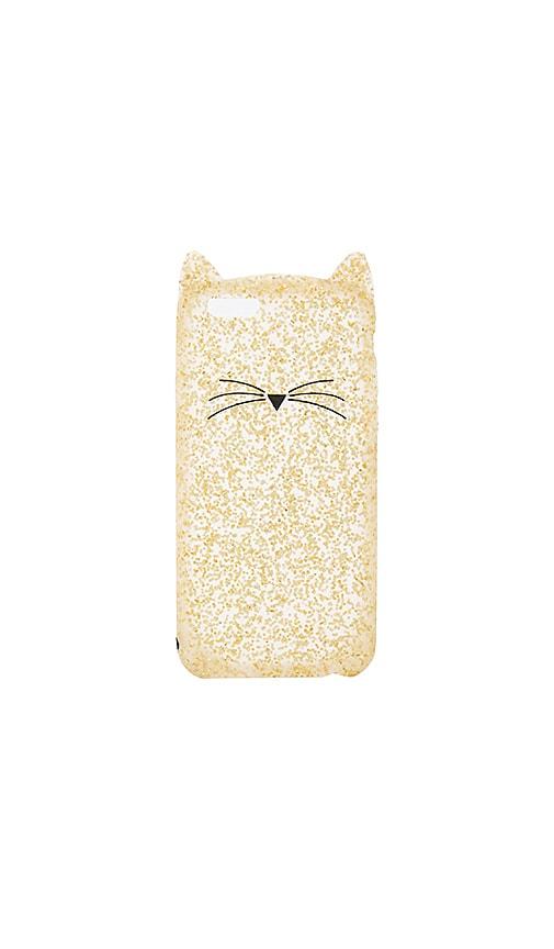 kate spade new york Glitter Cat iPhone 7 Case in Metallic Gold