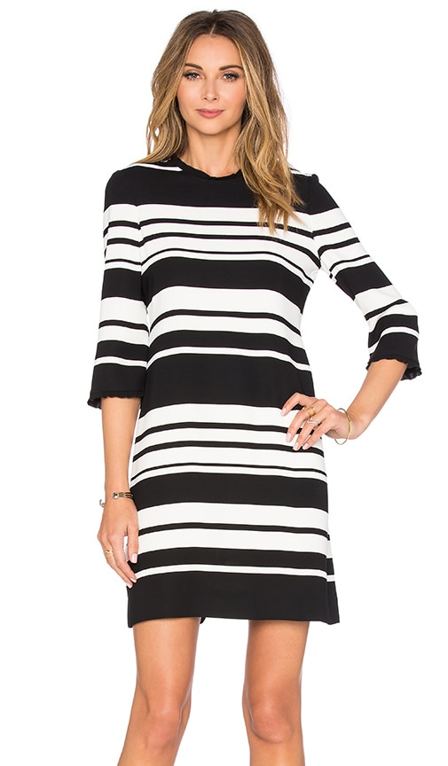 kate spade new york Cape Stripe Dizzy Dress in Black & Cream