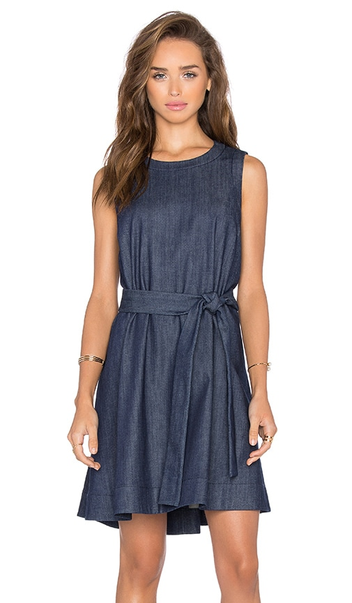 kate spade new york Denim Belted Mini Dress in Dark Denim