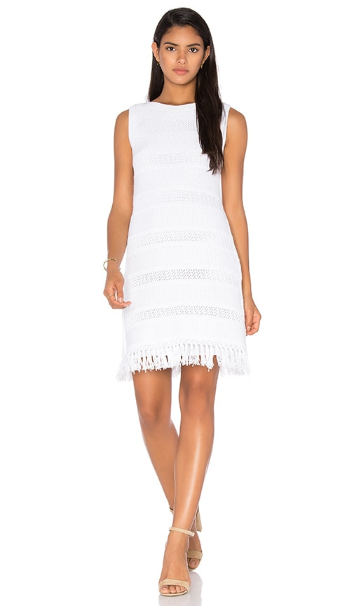 kate spade new york Fringe Sweater Dress in White