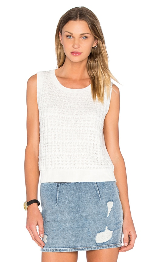kate spade new york Open Stitch Sleeveless Sweater in White