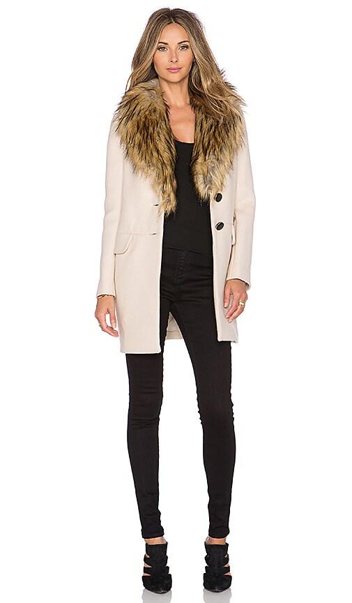 kate spade new york Faux Fur Collar Coat in Pumice