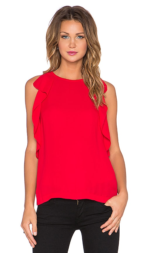 kate spade new york Ruffle Top in Spicy Red