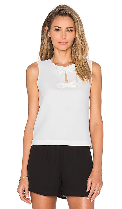 kate spade new york Sleeveless Bow Top in Cream