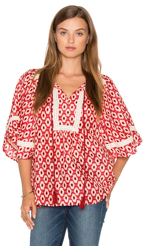 kate spade new york Posy Ikat Crochet Trim Top in Fuchsia