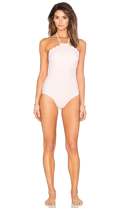 Scalloped High Neck Swimsuit