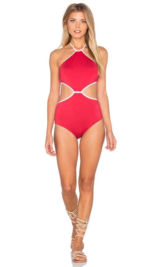 kate spade new york Plage Du Midi Halter One Piece in Red