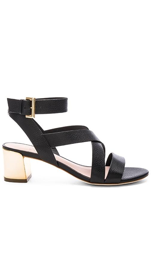 kate spade new york Kensley Heel in Black Leather & Gold