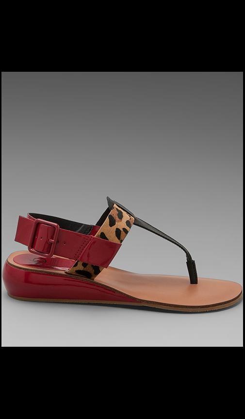 Genova Pony Patent Leather Sandal with Calf Hair