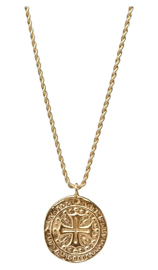 Gold Cross Medallion Necklace