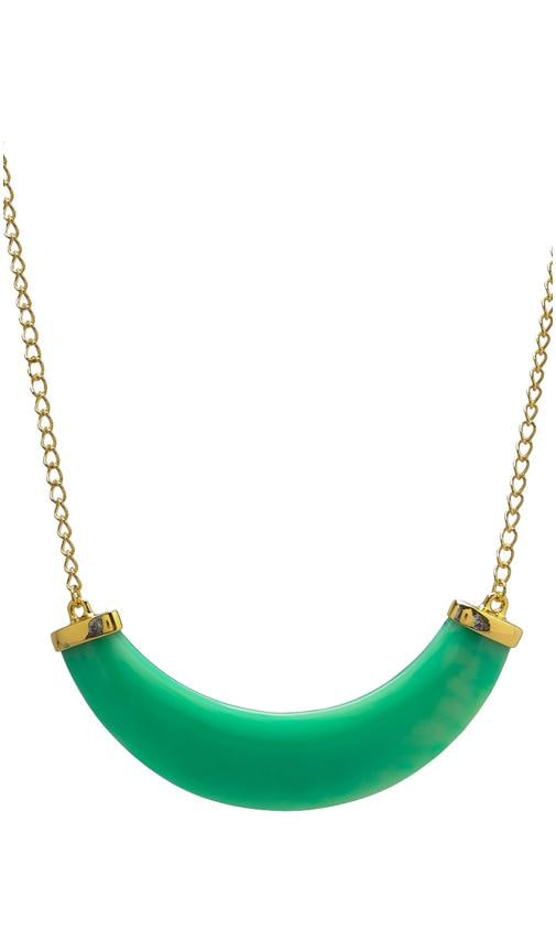 Polished Gold/Jade Resin Bib Necklace Light Mint