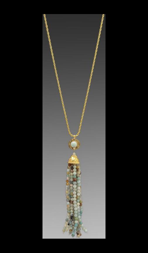 Gold Chain Jade Tassel Necklace