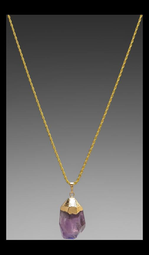 Gold Chain Foil Top and Stone Necklace