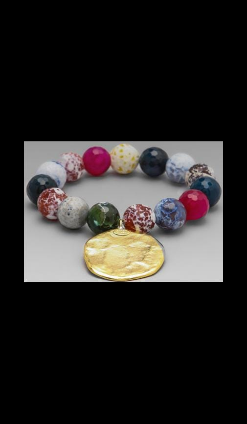 Agate Bead and Satin Gold Coin Bracelet