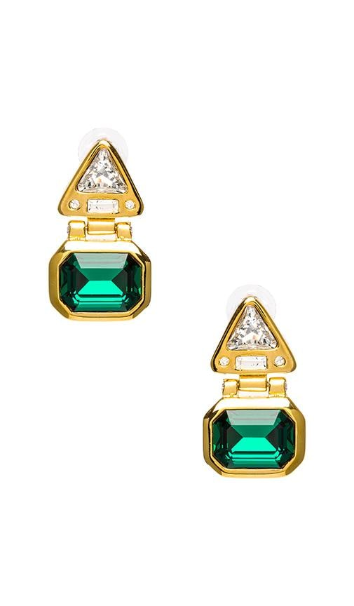 Polished Gold and Crystal Triangle Top Pierced Earrings