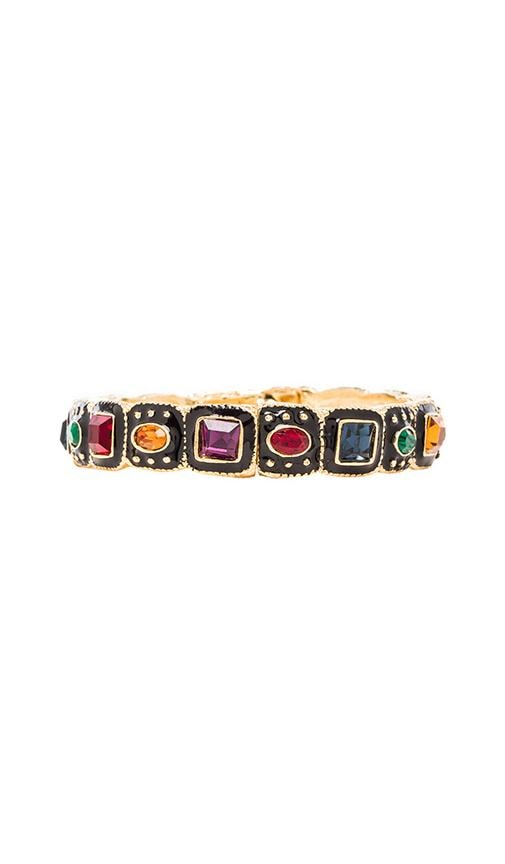 Black Enamel and Ruby Squares Hinged Bangle