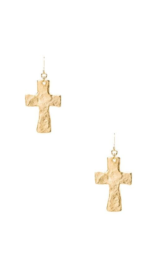 Satin Gold Cross Fishhook Earrings