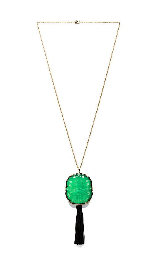 Curved Jade Tassel Necklace with Gold Chain