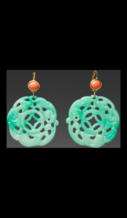 Coral Top Carved Jade Earring