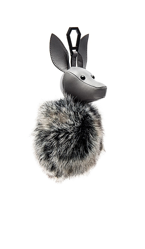 KENDALL + KYLIE Bambi Faux Fur Dog Charm in Gray