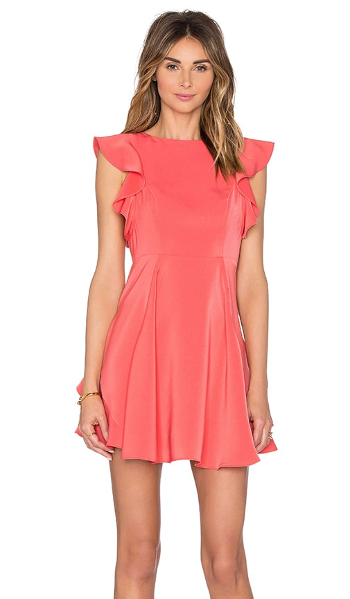 KENDALL + KYLIE Flutter Sleeve Dress in Coral