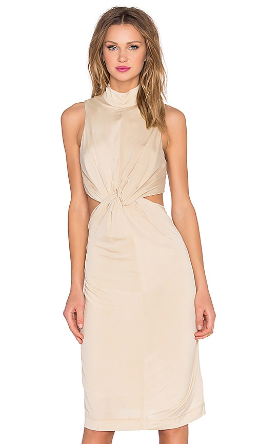 KENDALL + KYLIE Knot Front Jersey Dress in Beige