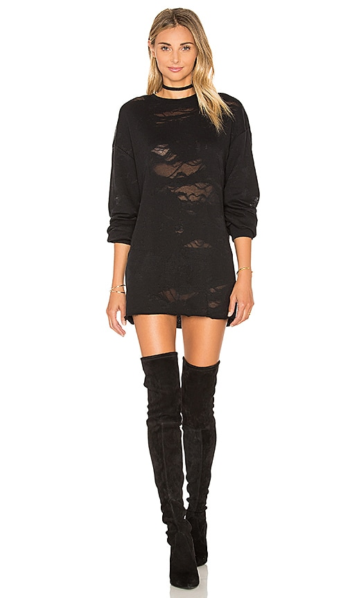 KENDALL + KYLIE Deconstructed Terry Tunic Dress in Black