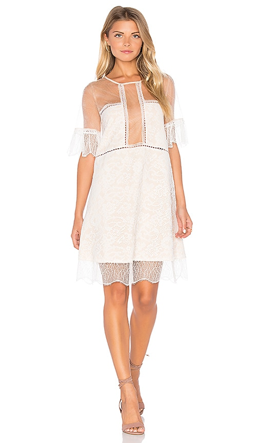 KENDALL + KYLIE Panel Lace Babydoll Dress in White