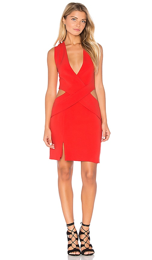 KENDALL + KYLIE Deep Plunge Cut Out Dress in Coral