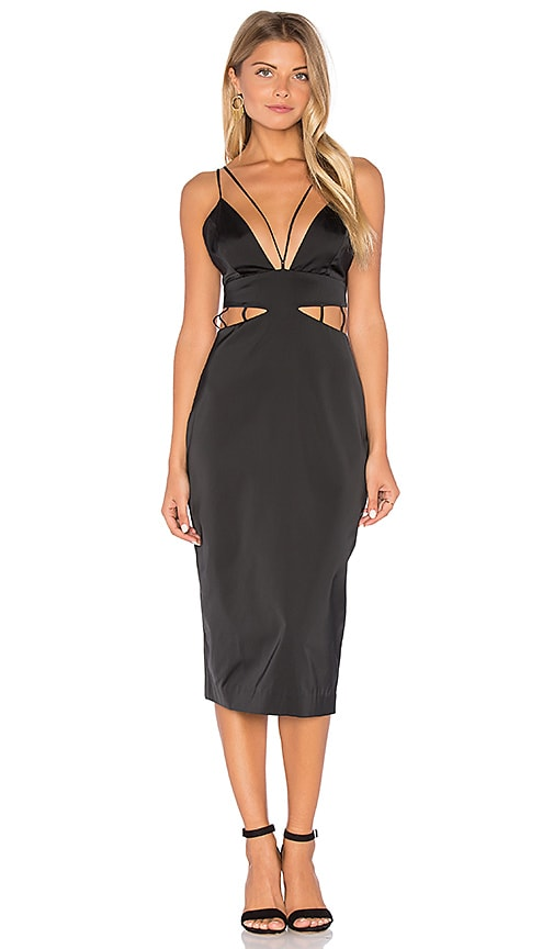 KENDALL + KYLIE Lattice Work Slip Dress in Black