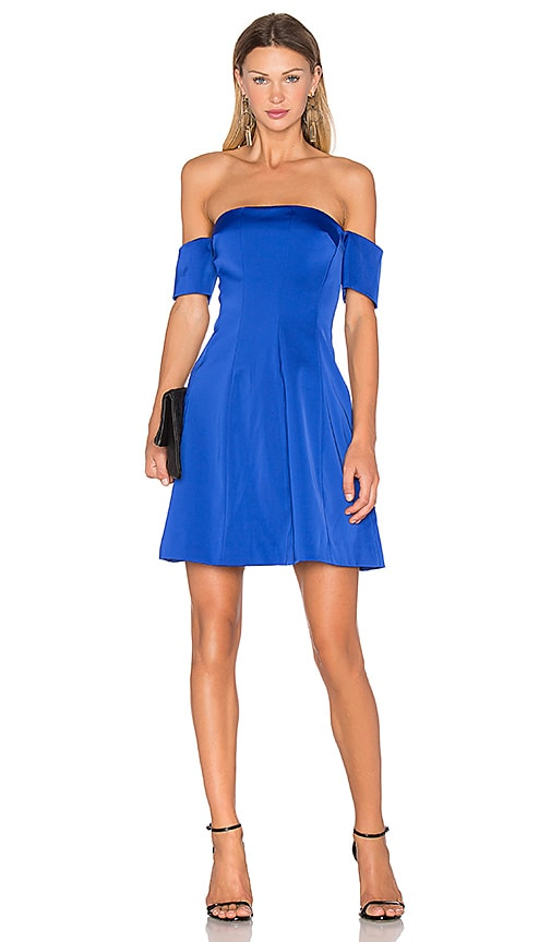 KENDALL + KYLIE Off The Shoulder Seamed Dress in Blue