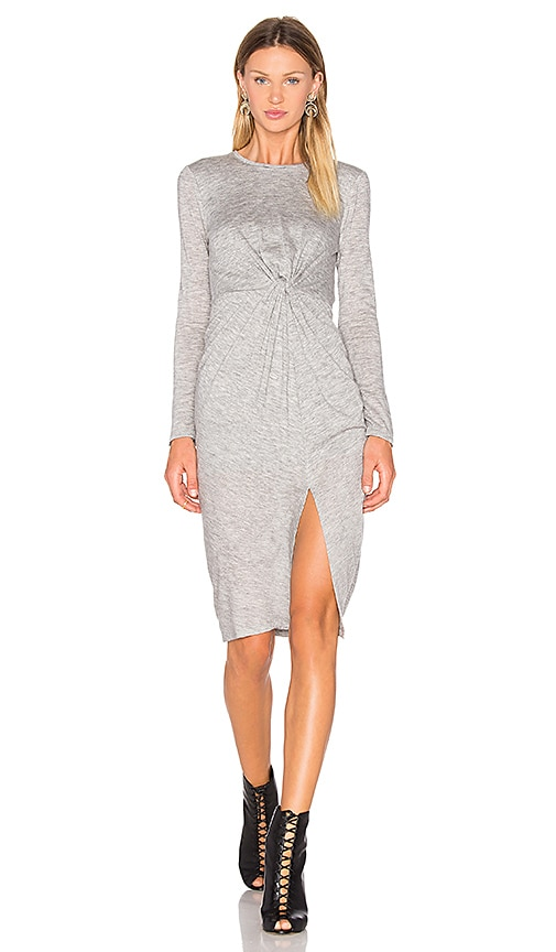 KENDALL + KYLIE Knotted A Line Midi Dress in Gray