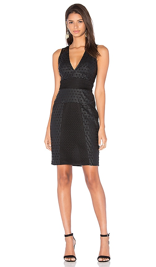 KENDALL + KYLIE Grid Laser Cut Dress in Black
