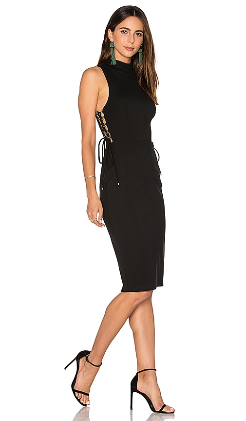 KENDALL + KYLIE Lace Up Midi Dress in Black