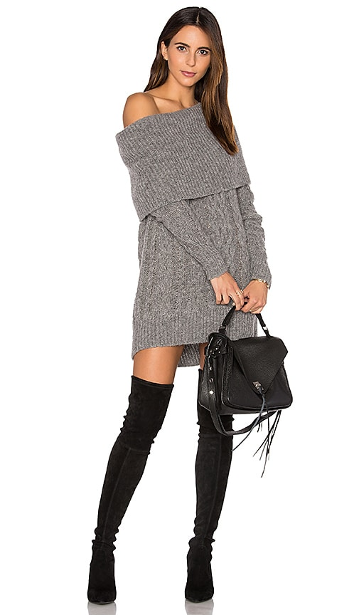 KENDALL + KYLIE Oversized Cable Tunic Sweater in Gray
