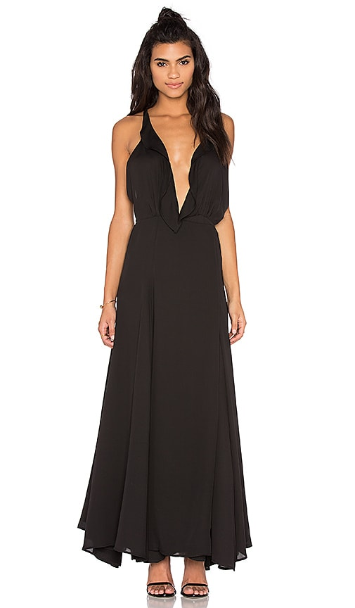 KENDALL + KYLIE Ruffle Wrapped Maxi Dress in Black