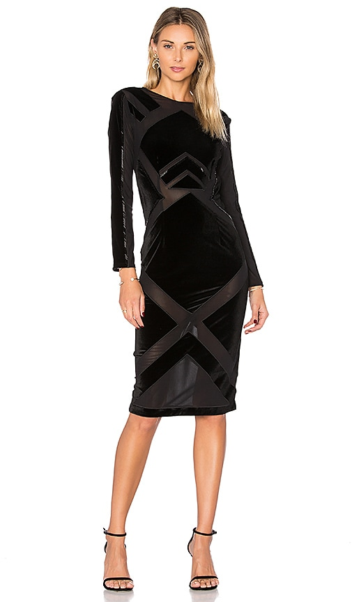 KENDALL + KYLIE Velvet Burnout Dress in Black