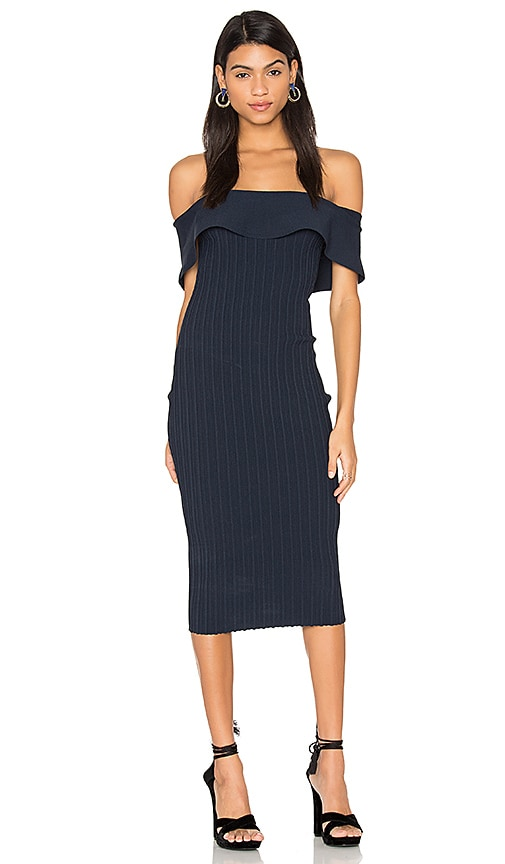 KENDALL + KYLIE Ruffle Midi Dress in Navy