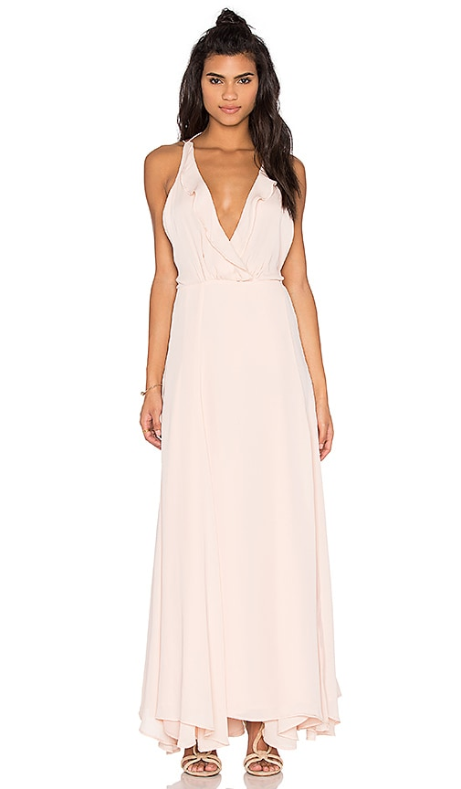 KENDALL + KYLIE Ruffle Wrapped Maxi Dress in Soft Pink