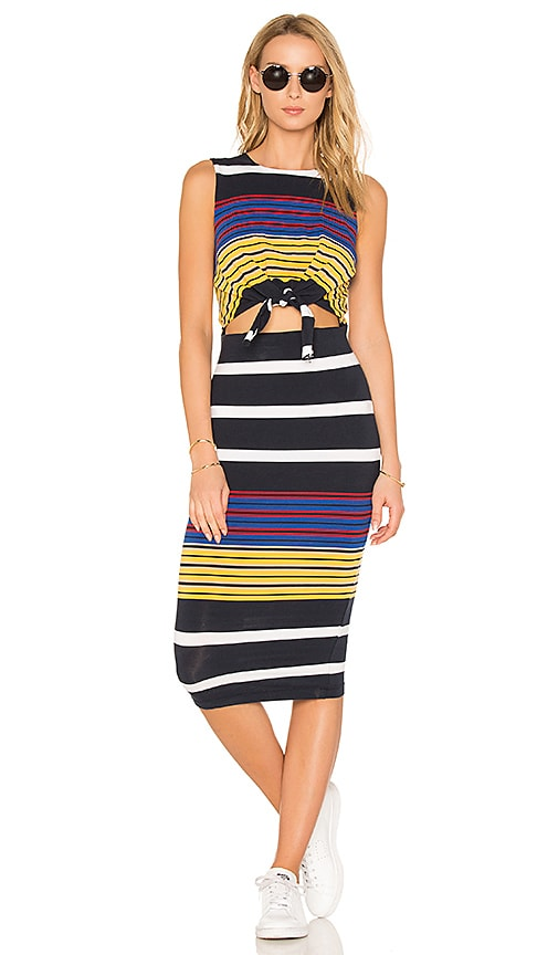KENDALL + KYLIE Multi Stripe Tie Waist Dress in Navy