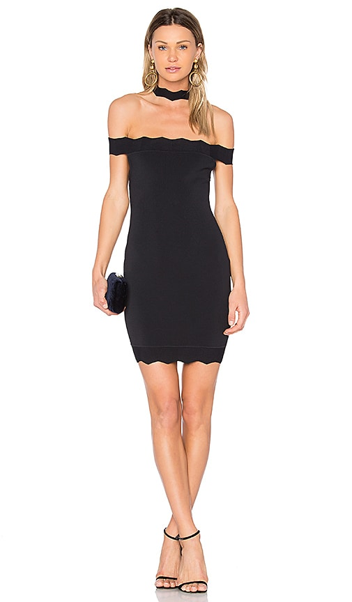 KENDALL + KYLIE Scallop Choker Dress in Black