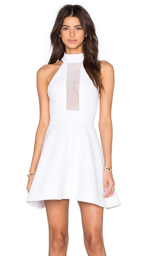 KENDALL + KYLIE Mesh Inset Halter Dress in White