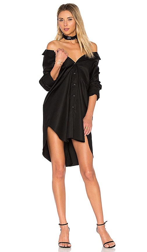 KENDALL + KYLIE Boyfriend Shirt Dress in Black