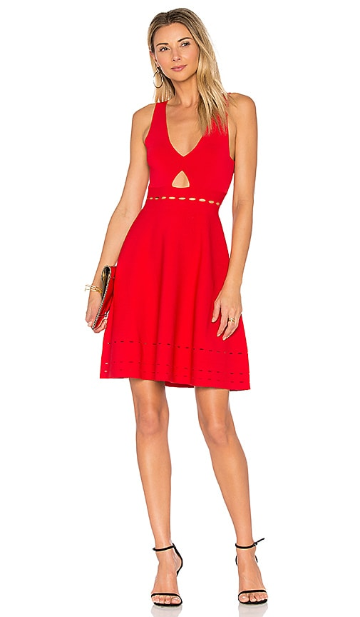 KENDALL + KYLIE Pointelle Open Back Dress in Red
