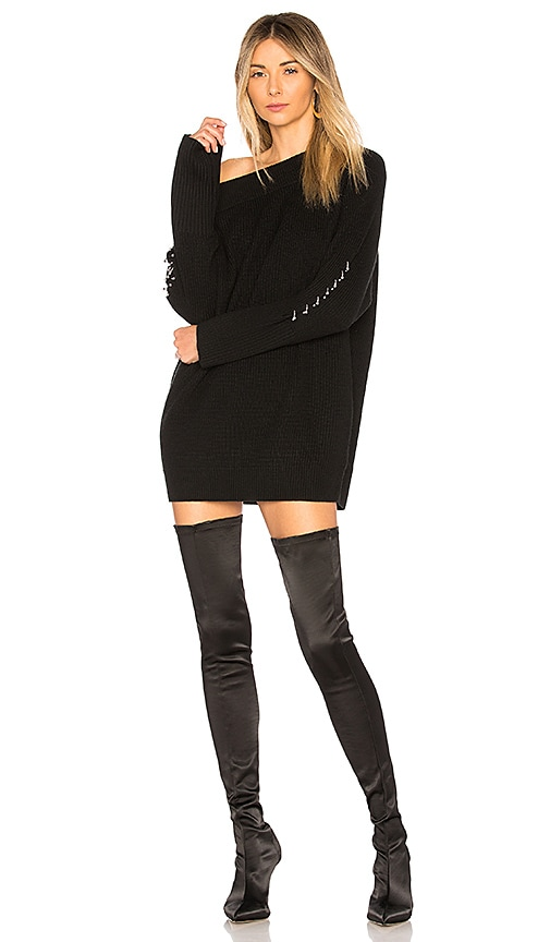 Kendall Kylie Off Shoulder Sweater Dress In Black Revolve