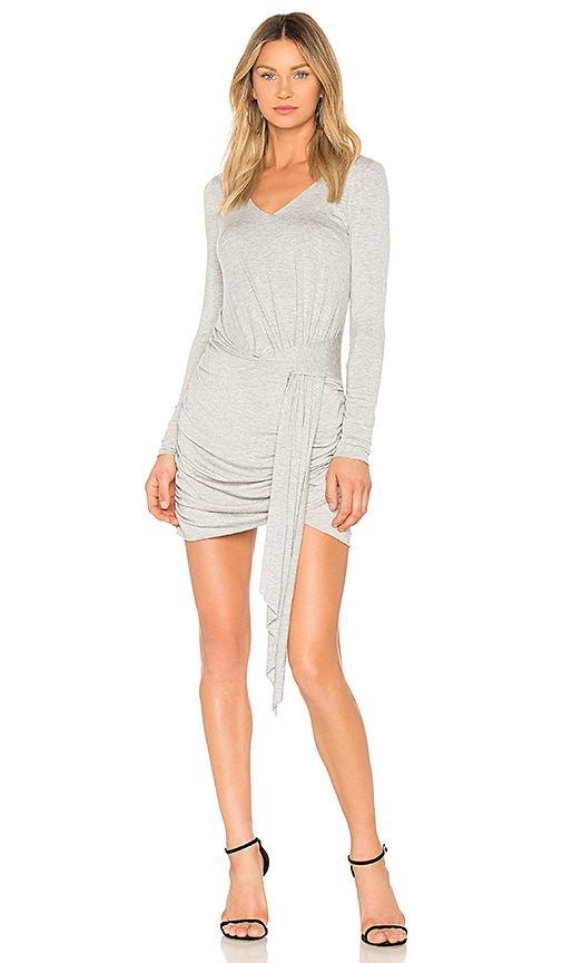 KENDALL + KYLIE V Neck Wrap Dress in Light Gray