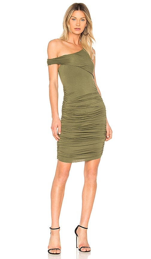 KENDALL + KYLIE Ruched Dress in Army