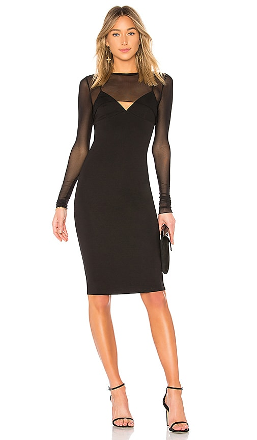 KENDALL + KYLIE Mesh Overlay Dress in Black