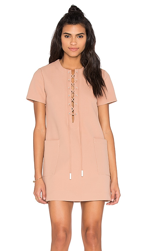 KENDALL + KYLIE Lace Up Safari Dress in Beige