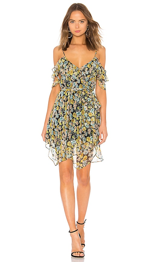 KENDALL + KYLIE Floral Ruffle Wrap Dress in Yellow